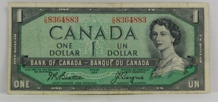 1954 Canada $1 Modified Hair Style Variety - Beattie/Coyne Signatures