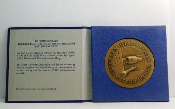 "1924 KLM Royal Dutch Airlines First Flight Between the Netherlands and the Far East Commemorative Bronze Medal in Original Box - Large 3"" Diameter"