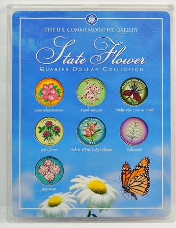 7 Uncirculated State Quarters-Colorized On One Side With That State's Flower-Colorized Beautifully & Hard Plastic Presentation Case