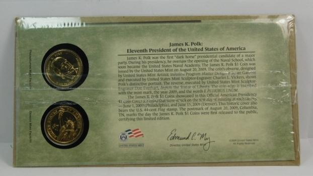 James K Polk 2009 Presidential Dollars-Both P & D Mints Encased Into A Cardboard Presentation Card With Historical Information On President Polk