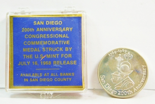 0.65oz. of .999 Fine Silver - San Diego 200th Anniversary Congressional Commemorative Medal Struck by the U.S. Mint for July 16, 1968 Release