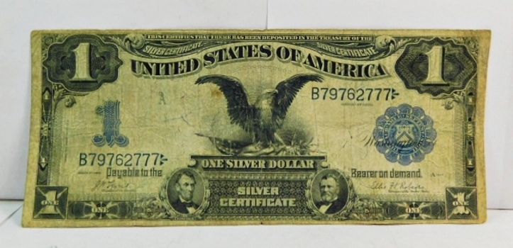 Series 1899 $1 Black Eagle Silver Certificate - Pay The Bearer One Silver Dollar