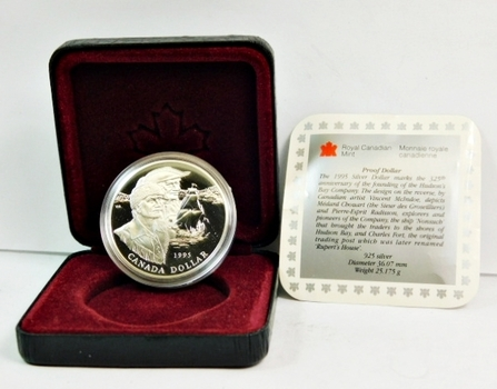 1995 Canada Proof Silver Dollar - Commemorates the 325th Anniversary of the Founding of the Hudson Bay Company - Comes in Display Box