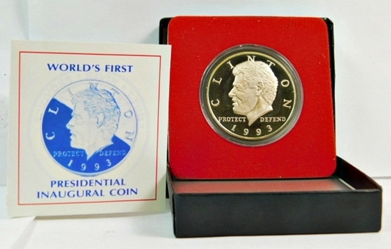1993 World's First Presidential Inaugural $10 Proof Silver Coin - President Bill Clinton - Only 15,000 Minted - 39mm .999 Fine Silver - Hut River Province