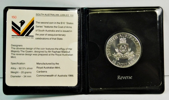 "1986 $10 Uncirculated Silver Coin - South Australian Jubilee 150 - 34mm 92.5% Silver - 20 g - Comes in ""Wallet"""