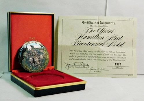 The Official Hamilton Mint Bicentennial Medal - 2.5 Troy Ounces of Solid .999 Fine Proof Silver - Serial Number 1327 - In Display Box with COA