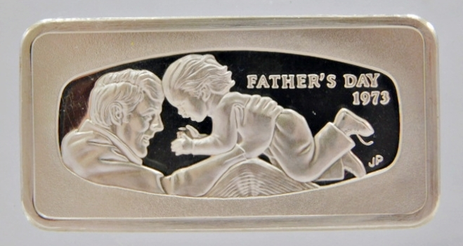 1000 Grain Proof Sterling Silver Bar encased in Acrylic Paper Weight - Father's Day 1973 from the Franklin Mint