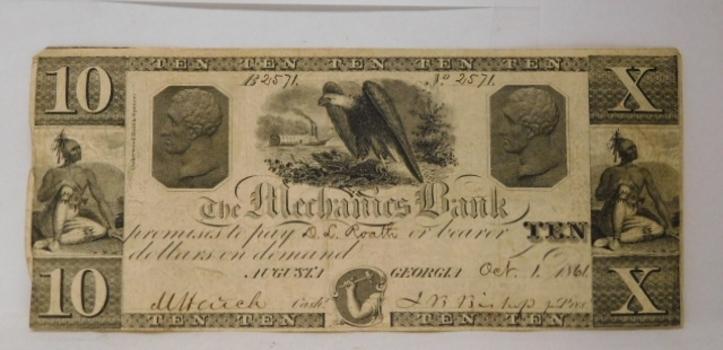 1861 $10 Mechanics Bank Augusta, Georgia Obsolete Bank Note