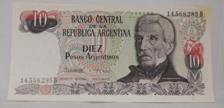 1983 Argentina 10 Pesos Argentinos Bank Note - High Grade Crisp Uncirculated
