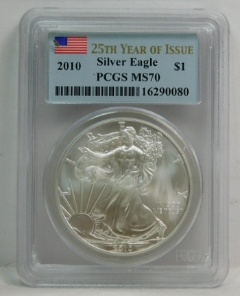 2010 American Silver Eagle - Graded MS70 by PCGS - 25th Year of Issue - Pure White