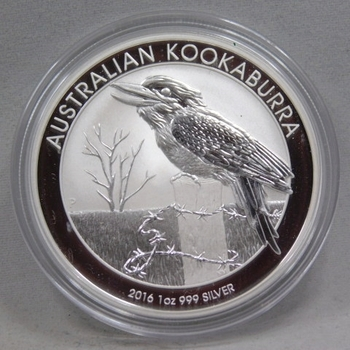 2016 $1 Australian Kookaburra 1 oz .999 Fine Silver - Brilliant Uncirculated in Original Mint Capsule