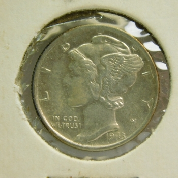 1943-S Silver Mercury Dime - San Francisco Minted - High Grade Brilliant with Excellent Detail