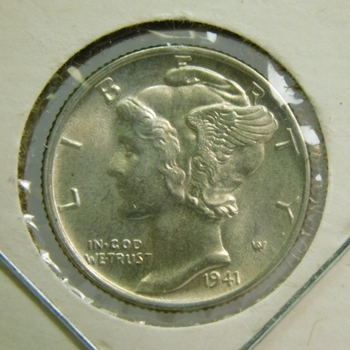 1941 Silver Mercury Head Dime - Excellent Detail and Luster - High Grade Coin - Struck at the Philadelphia Mint