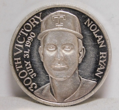 1990 Limited Edition Nolan Ryan 300th Victory Commemorative .999 Fine Silver 1 oz Round - Most No Hitters in Major League Baseball History