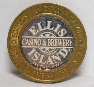 2005 Silver Strike - Limited Edition $10 Gaming Token - Ellis Island Casino & Brewery - .999 Fine Silver