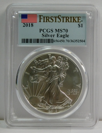 2018 American Silver Eagle - First Strike - Graded MS70 by PCGS - Pure White