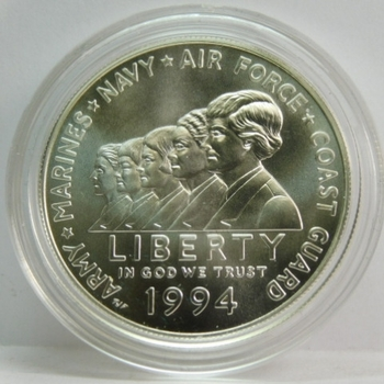 1994-W Women in Military Service Memorial Commemorative Uncirculated Silver Dollar - West Point Minted