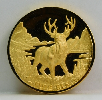 Proof 24K Gold over 1.25 oz Sterling Longines Symphonette Medallion - TULE ELK - #F331