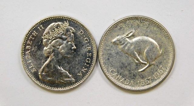 (2) 1967 Canadian Centennial Nickels-Higher Grade & Well Struck