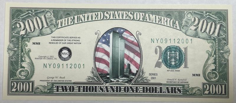 2001 World Trade Center - Pentagon - Operation Enduring Freedom Commemorative Note