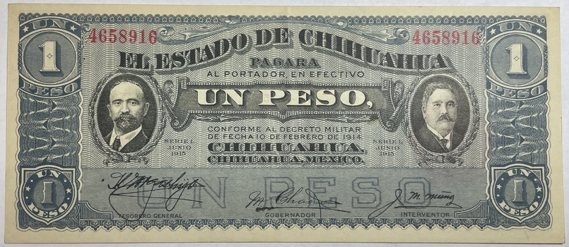 1915 Mexico Revolution State of Chihuahua 1 Peso Note