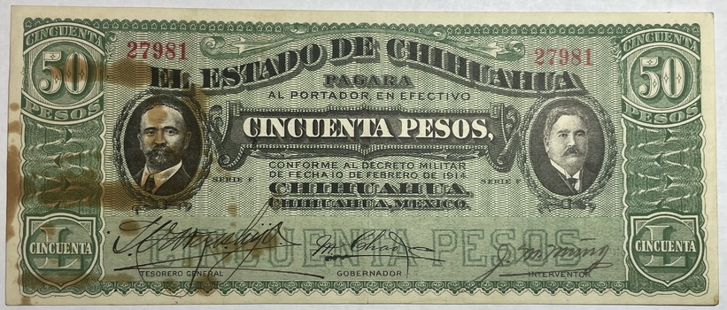 1915 Mexico Revolution State of Chihuahua 50 Pesos Note