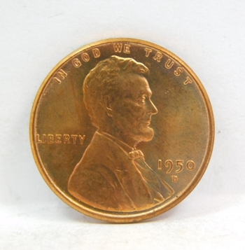 HIGH GRADE - 1950-D Lincoln Wheat Cent - Excellent Detail - Red