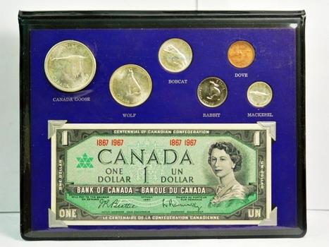 1867-1967 Canada Confederation Centennial Commemorative Silver Mint Set and Crisp Uncirculated Dollar - Canadian Wildlife Series
