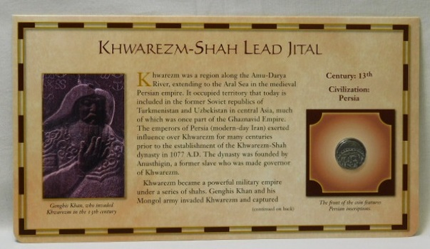 13th Century Ancient Coin - Khwarezm-Shah  Lead Jital - Civilization: Kushans - from the 20 Centuries of Coins - Encased in a Cardboard Informational Panel by the Postal Commemorative Society