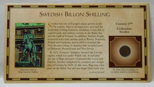 17th Century Ancient Coin - Swedish Billion Shilling - Civilization: Sweden - from the 20 Centuries of Coins - Encased in a Cardboard Informational Panel by the Postal Commemorative Society