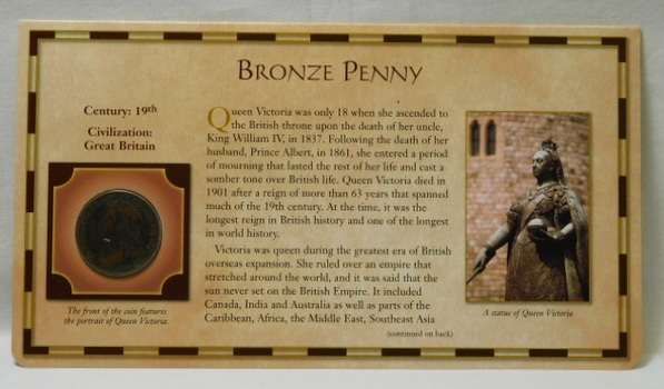 19th Century Coin - Bronze Penny - Civilization: Great Britain - from the 20 Centuries of Coins - Encased in a Cardboard Informational Panel by the Postal Commemorative Society