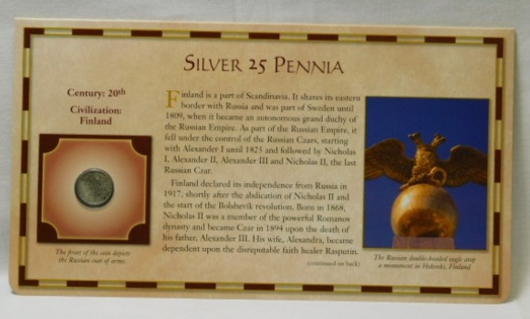 20th Century Coin - Silver 25 Pennia - Civilization: Finland - from the 20 Centuries of Coins - Encased in a Cardboard Informational Panel by the Postal Commemorative Society
