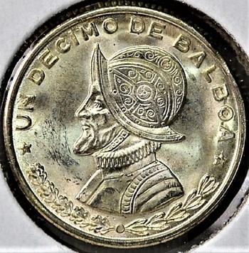 Panama 1961 1/10 Balboa Silver ASW 0.0723 oz. KM-24