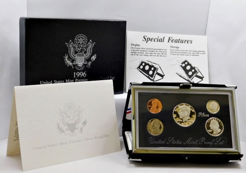 1996-S United States Mint Premier Silver Proof Set - In Beautiful Display Case and Box with COA