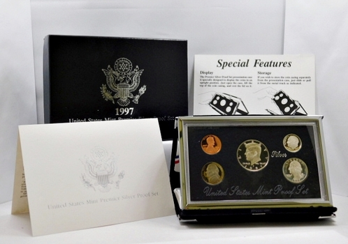1997-S United States Mint Premier Silver Proof Set - In Beautiful Display Case and Box with COA