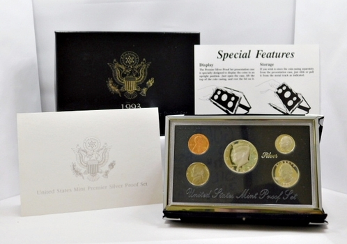 1993-S United States Mint Premier Silver Proof Set - In Beautiful Display Case and Box with COA
