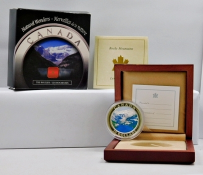 2003 Canada $20 Silver Coin - Colorized Edition of the Rocky Mountains - LOW Mintage with only 35,000 Coins Worldwide - In Beautiful Wooden Display Case