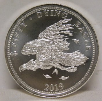 2019 $50 Zombucks Dying Eagle 1 oz .999 Fine Silver - Currency of the Zombie Apocalypse