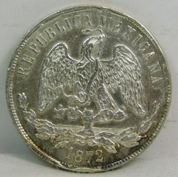 1872 Mexico Oaxaca Silver Peso