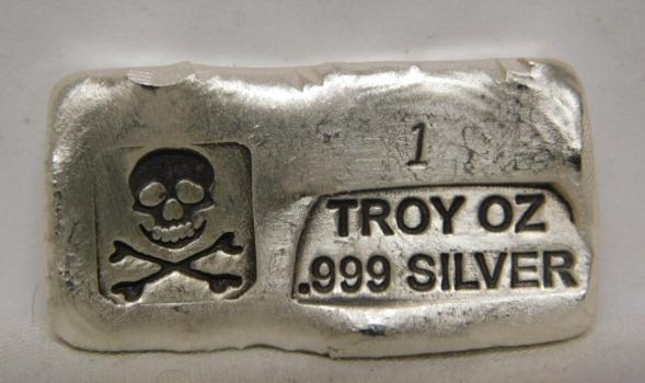 Hand-Poured 1 oz .999 Fine SILVER Skull & Bones Bar