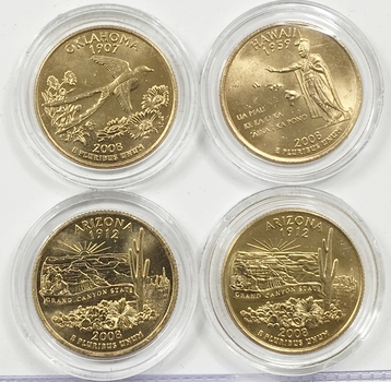 Lot of Four (4) 24K Gold Plated Commemorative State Quarters - 2008-P & D Arizona, 2008-P Hawaii and 2008-D Oklahoma