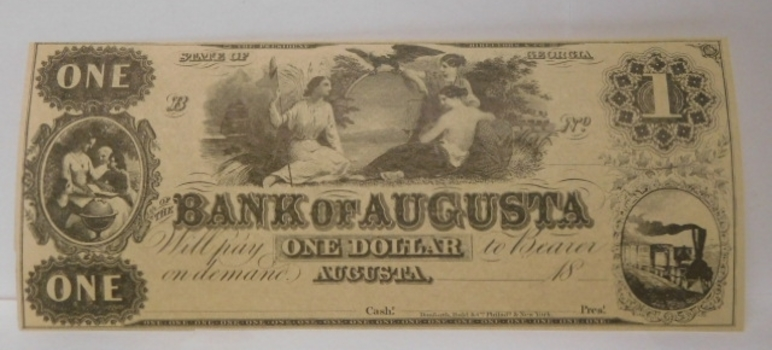 1800's $1 State of Georgia - Bank of Augusta Obsolete Unissued and Uncirculated Bank Note