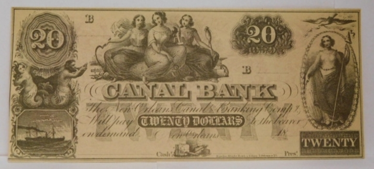 1800's $20 New Orleans Canal Bank - Unissued and Uncirculated Obsolete Bank Note