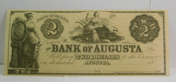 1800's $2 State of Georgia - Bank of Augusta Obsolete Unissued and Uncirculated Bank Note