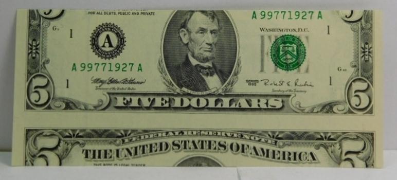 1995 $5 Federal Reserve False Cutting Error - High Grade Crisp Uncirculated