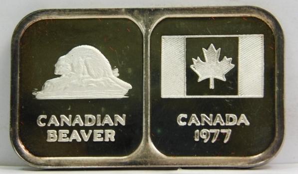 1977 Canada Beaver/Flag 1 oz .999 Fine Silver Bar/Ingot - Serial #1799 - Proof Condition