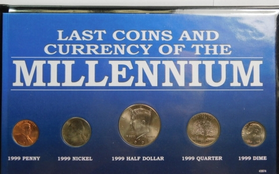 Last Coins and Currency of the Millennium - Five (5) Coin Set - In Protective Plastic Wallet