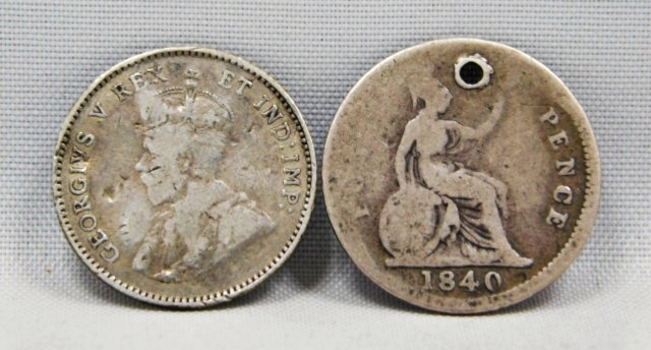 1911 Canadian Silver 5 Cent Coin PLUS (1) 1840 3 Pence Great Britain Silver Piece