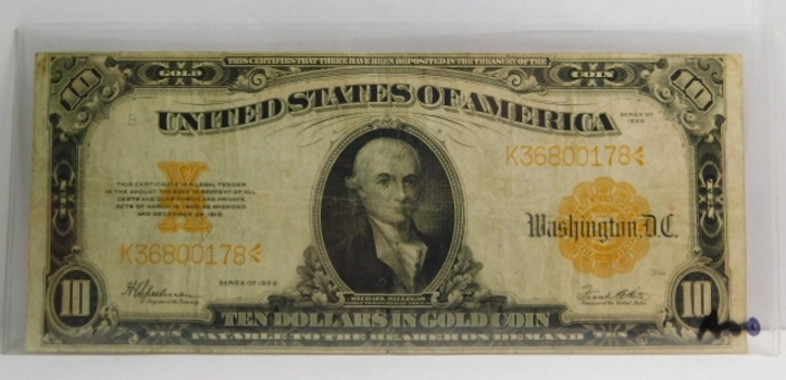 1922 $10 Large Size Gold Certificate - Historical Note Payable in Gold Coin