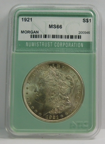 1921 Morgan Silver Dollar - NTC Graded MS66